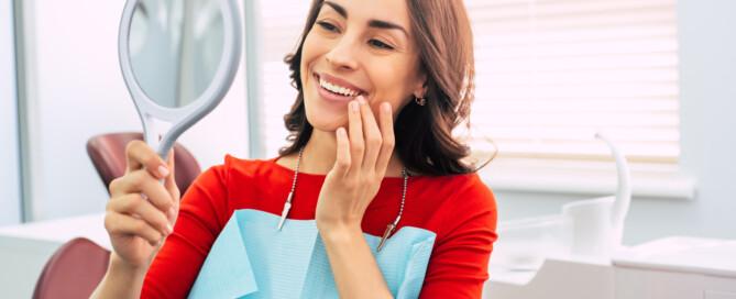 Woman admiring smile
